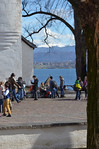 Place du Chateau, Nyons, Switzerland, school outing, March 2013